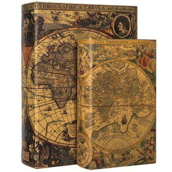 Antique Map Book Box Set Hobby Lobby 322727 Antique Map Vintage Map Decor Antiques
