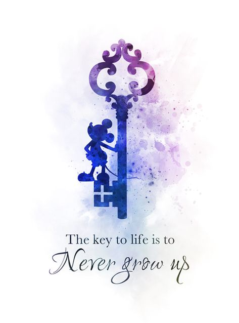 Never Grow Up Mickey Mouse Quote ART PRINT Key, Nursery, Gift, Wall Art, Home Decor, Inspirational, Gift Ideas, Inspirational quotes, Watercolour, Birthday, Christmas, The key to life is to never grow up #NeverGrowUp #MickeyMouse #Quote #ARTPRINT #Key #Nursery #Gift #WallArt #HomeDecor #Inspirational #GiftIdeas #Inspirationalquotes #Watercolour #Birthday #Christmas