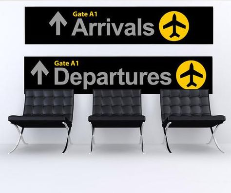 Decal #879 Size: Option A (6in Tall X 30in Wide each sign) Includes Both Arrival and Departure Signs Size: Option B (10in Tall X 50in Wide each sign) Includes