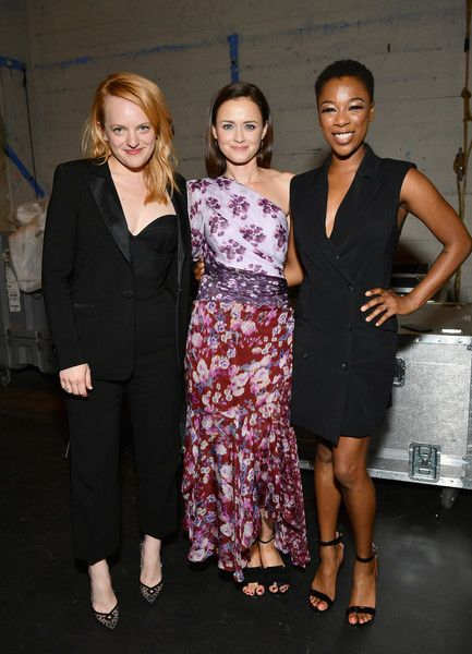 "(L-R) Elisabeth Moss, Alexis Bledel and Samira Wiley attend ""The Handmaid's Tale"" Hulu finale at The Wilshire Ebell Theatre on July 9, 2018 in Los Angeles, California."