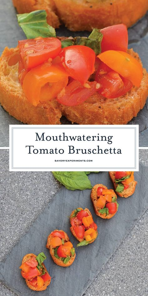 Tomato Bruschetta - The Best Bruschetta Recipe Ever - This Tomato Bruschetta recipe is a classic no cook appetizer that can be ready in as little as 20 minutes using fresh tomatoes, basil and garlic. #tomatobruschetta