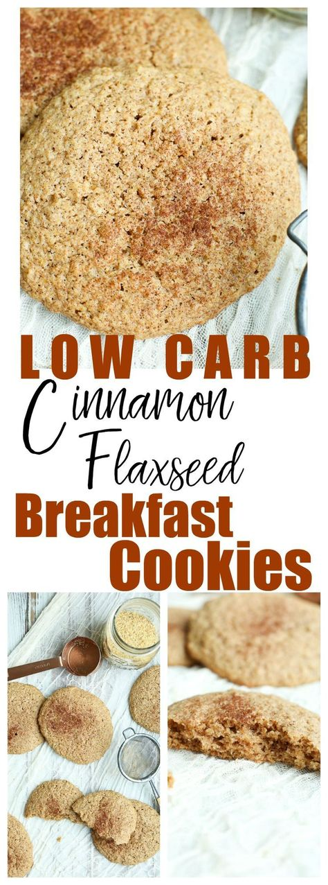 Healthy breakfast idea, gluten-free, easy These Low Carb Flaxseed Cinnamon Breakfast Cookies are lightly sweet, spiked with cinnamon flavor, and perfect with morning coffee! Healthy Cookie Recipes, Healthy Cookies, Gluten Free Recipes, Low Carb Recipes, Flour Recipes, Healthy Food, Healthy Low Carb Breakfast, Healthy Sugar, Diet Recipes