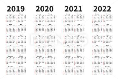 Calendar 2019 2020 2021 And 2022 Year Vector Design Template