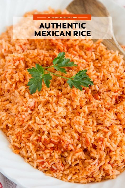The BEST Authentic Mexican Rice Recipe that is so good and so easy, it will become THE side dish to make with all of your Mexican dishes. Perfect for Cinco de Mayo. The best Mexican rice is fluffy and rich in flavor! Authentic Mexican Recipes, Mexican Rice Recipes, Rice Recipes For Dinner, Side Dish Recipes, Easy Mexican Rice, Authentic Food, Mexican Rice Recipe Restaurant Style, Healthy Mexican Food, Homemade Mexican Rice