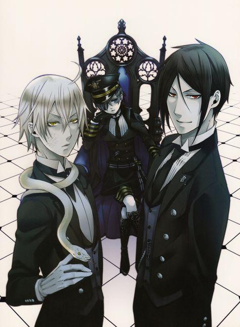 Tags: Kuroshitsuji, Scan, Sebastian Michaelis, Ciel Phantomhive, Toboso Yana, Official Art, Snake (Kuroshitsuji), Black Butler Artworks 2