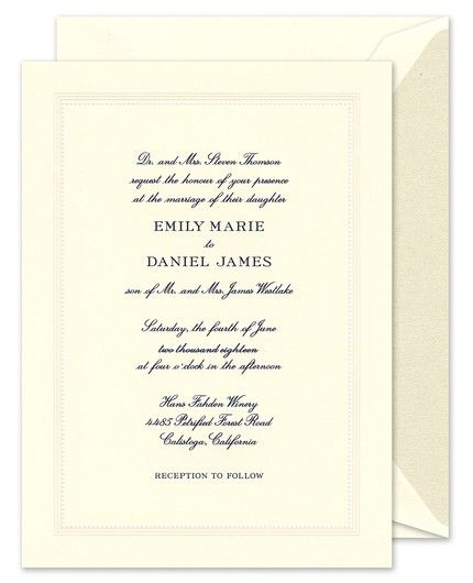 This beautiful invitation is equal parts classic and captivating with its frame of delicately crafted beading, adding a perfect touch of pomp to this ecru invitation.