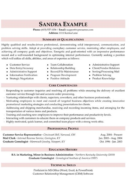 Customer Service Resume u2026 New Skills Pinterest Customer - qualifications in resume sample