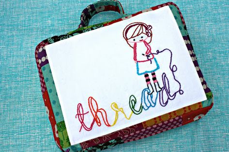 sew: embroidery-to-go case free pattern and tutorial || Sew Sweetness and imagine gnats for Pellon