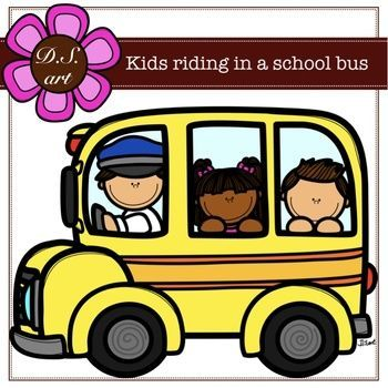 Kids Riding In A School Bus Digital Clipart Color And Black White