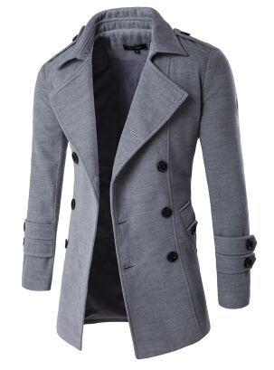 Sankt Mens Long Coat Slim Double Breasted Autumn Winter Pea Coat