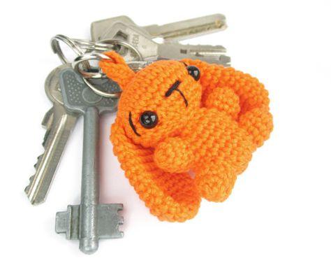 Keychain - Bag charm - Crochet bunny - Amigurumi animal - Stuffed animal keychain - Cute keychain for kids -  Colorful - Cotton - Orange
