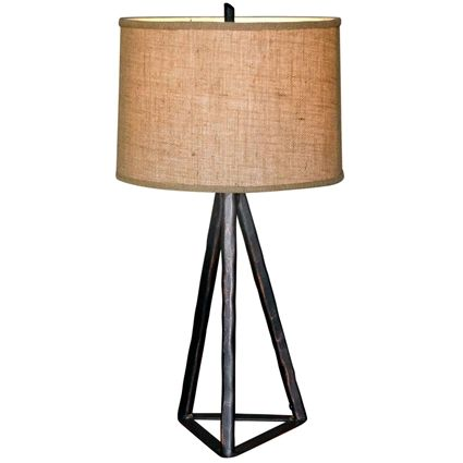 Tripod Table Lamp Hand Forged Wrought Iron With Images Iron