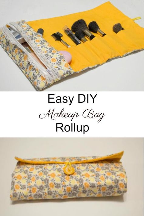Crafty Travel Sewing - Easy to sew DIY makeup bag and brush rollup. - Crafty Travel Sewing – Easy to sew DIY makeup bag and brush rollup. up to brush up ba - Diy Sewing Projects, Sewing Projects For Beginners, Sewing Hacks, Sewing Tutorials, Sewing Crafts, Sewing Tips, Tutorial Sewing, Makeup Bag Tutorials, Sewing Art