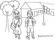 Gambar Mewarnai Kebersihan Lingkungan Sekolah Menulis Education