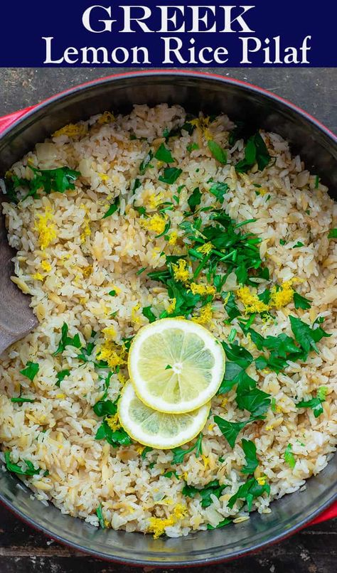 You'll love this bright and super tasty Greek lemon rice with onions, garlic, lemon and fresh herbs. Two simple tips guarantee best results every time! Recipe and what to serve along on TheMediterraneanDish.com #greekfood #greekrecipes #mediterraneanfood #mediterraneandiet #ricepilaf #rice #veganrecipes