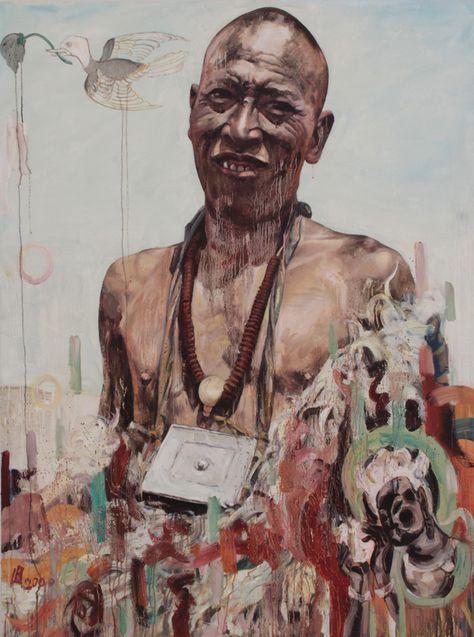 "Hung Liu- ""Tibetan Man"" 2000, oil on canvas, 64 x 48"""