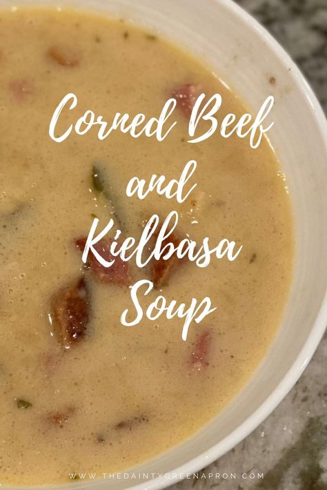 Easy, hearty, and delicious fall corned beef, kielbasa, bacon, and cabbage soup recipe. #homemade #soup #recipe #fallsoup #fallrecipe #fall #best #easy