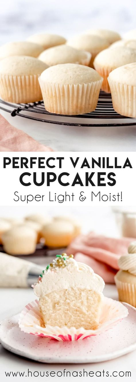 Forget the box mix, these easy, from-scratch Moist Vanilla Cupcakes really are the best ever. The recipe turns out amazing every time, and the sweet white cupcakes are perfect for everything from birthdays to baby showers, and weekends to weddings! #cake #cupcakes #vanilla #white #easy #best #moist #light #homemade #fromscratch #sourcream