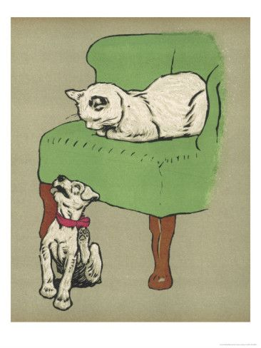 Awe Inspiring White Cat Relaxes On A Comfy Chair While A White Puppy Tries Squirreltailoven Fun Painted Chair Ideas Images Squirreltailovenorg