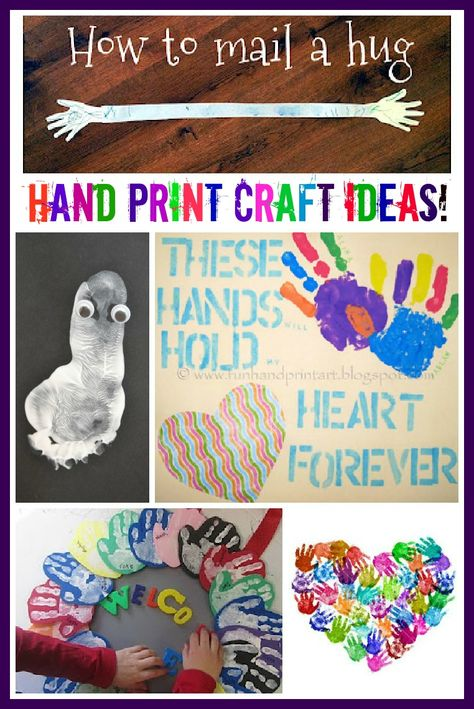 "*Love the ""mail a hug!!"" xmas?? Lots of hand print art and craft ideas including group hand print craft projects great for the classroom!"