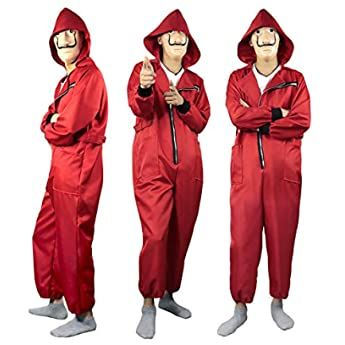 Disfraz De La Casa De Papel Para Disfraz Ladrón Disfraces Carnaval Halloween Incluye Un Traje Con Capucha Halloween Party Costumes Clown Costume Red Jumpsuit