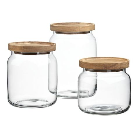 Acacia and Glass Canisters / Crate and Barrel