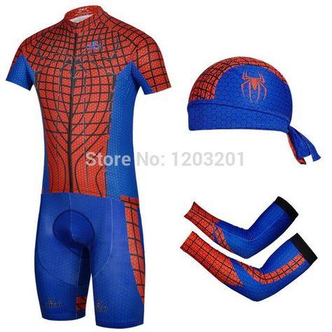 Encontrar Más Jerseys de ciclo Información acerca de Cheji Spiderman ropa  moto transpirable 3D Gel acolchadas traje de ciclismo + gorras diadema + ... 127b3d1e7