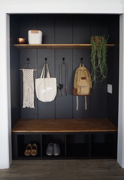 Earlier than and After 215 and Intelligent DIYs Make This Entryway A lot Extra S. Earlier than and After 215 and Intelligent DIYs Make This Entryway A lot Extra Sensible Entryway Hooks, Entryway Closet, Entryway Storage, Entryway Decor, Entryway Ideas, Cubbies, Mudroom Laundry Room, Mudroom Shelf, Mudroom Benches