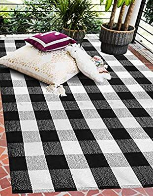 Black And White Buffalo Plaid Outdoor Rug Pretty Pace In 2020 Outdoor Rugs Patio Outdoor Rugs Farmhouse Rugs
