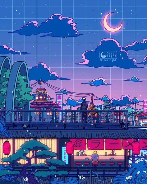 Konoha Anime Scenery Wallpaper Vaporwave Wallpaper Anime Wallpaper