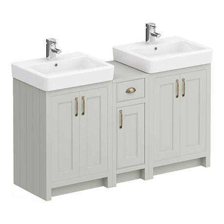 Chatsworth Traditional Grey Double Basin Vanity Cupboard Combination Unit Victorian Plumbing Uk Vanity Units Trendy Bathroom Double Vanity Bathroom