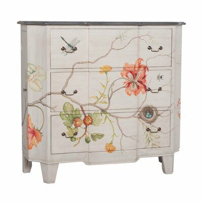 Rosalind Wheeler Manor whitewash and hand-painted floral art on solid wood three drawer chest. Manor carriage finish on the chest top. Antiqued bail pull hardware. Painted Bedroom Furniture, Decoupage Furniture, Funky Furniture, Repurposed Furniture, Shabby Chic Furniture, Furniture Projects, Furniture Makeover, Home Furniture, Chest Furniture