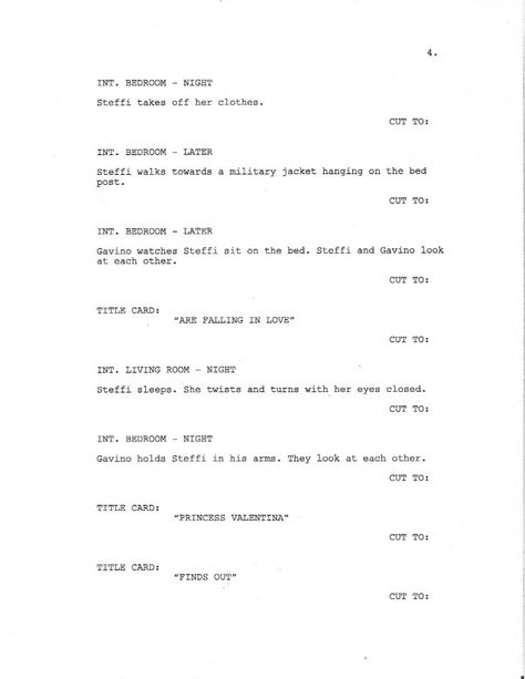 Page 4 of Royal Love Story From The Grave - Sample Screenplay - screenplay template