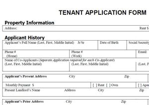 Free Tenant Application Form  Free Rental Forms