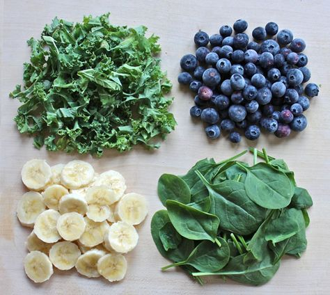 1 ripe banana 1 cup of frozen blueberries  1 cup of spinach 1 cup of kale 1/3 of a cup of water/almond milk/coconut water 1 tablespoon of ground flax seeds 1 tablespoon of chia seeds 1 teaspoon of hemp protein powder 1 teaspoon of spirulina Optional: 2 medjool dates (this sweetens it)