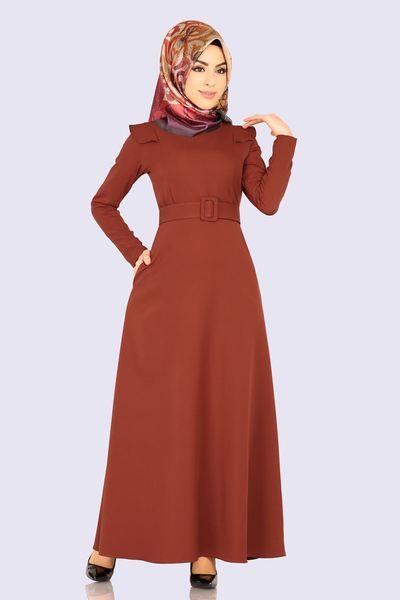 Modaselvim Elbise Kemerli Tesettur Elbise Ukb5002 Kiremit