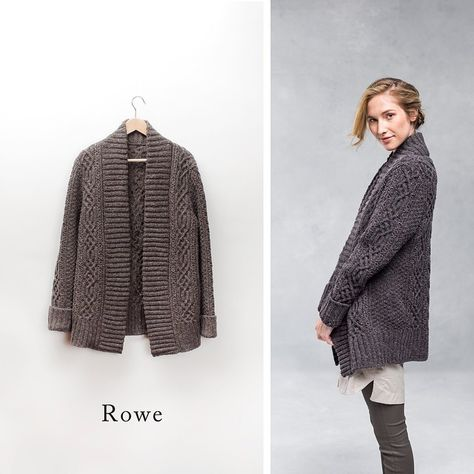 Opulent cables take center stage in this luscious oversized sweater coat inspired by Celtic designs. The double-layered front ribbing provides warmth, structure, and a strikingly simply element to balance the busy cable work. Rowe is designed for lots of positive ease, so you can throw it on to dress up a casual outfit or use it in place of a coat when the weather is mild. Choose a neutral hue or make it a statement piece in a bold color #btfall14 #Padgram