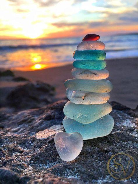Sunset Seaglass Stack Print | Ocean Photo Art | California Beach Home Decor | Nature Photography | B