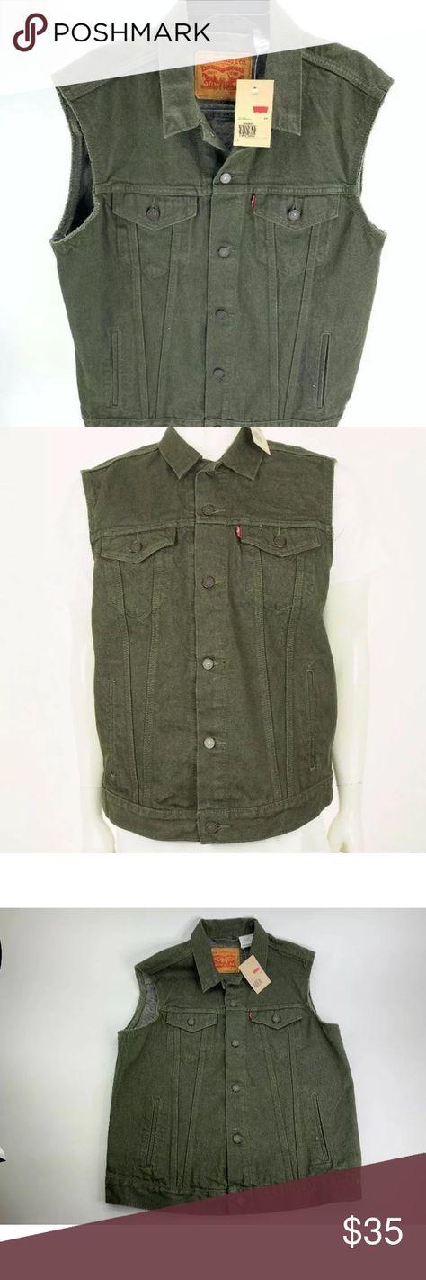 4099251dd1 New Levi Men Denim JEAN Biker Trucker Vest Jacket New Levi's Men's $79.50  Dark Green Olive