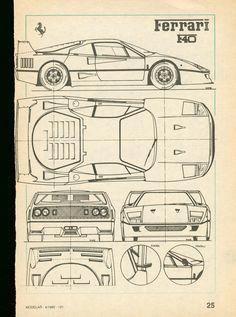 Ferrari F40 Smcars Net Car Blueprints Forum Ferrariclassiccars Ferrari F40 Ferrari Car Drawings