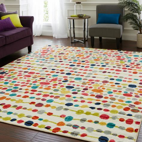 Short-Pile Living Room Rug Fringing Colourful Geometric Pattern Ethnic Design