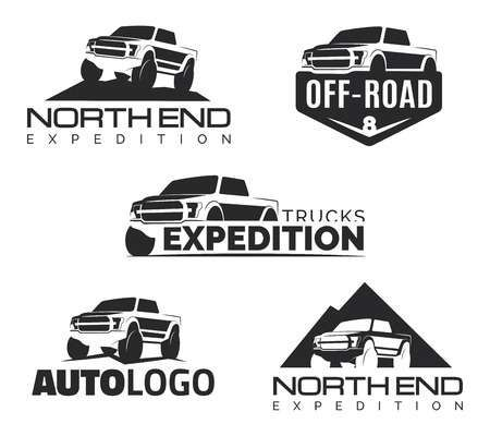 Set Of Modern Suv Pickup Emblems Icons Offroad Pickup Design Car Clubs Logo Bold Logo Design Jeep Art