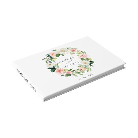 Blush White Bloom Floral Wreath Wedding Guestbook #wedding #blushand #watercolor #elegant #botanical #wedding #birthday #anniversary #bridalshower #babyshower #batmitzvah #barmitzvah #floral #watercolor #rustic #vintage #modern