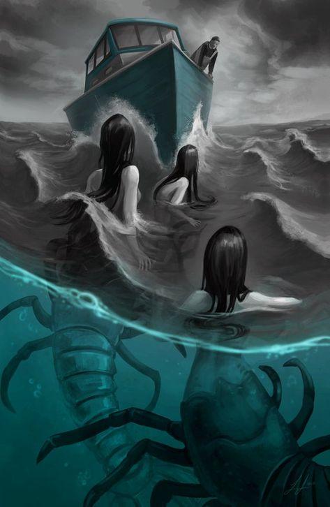 Creepy Mermaids Lobster Sirens Ocean Sea Art by LisaLindsayArt Foto Fantasy, Dark Fantasy Art, Fantasy Artwork, Mythical Creatures Art, Mythological Creatures, Arte Horror, Horror Art, Meer Illustration, Mermaid Illustration