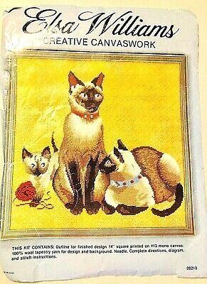 Kitty Needlepoint Kit or Canvas Cat//Animal