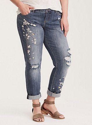 Torrid Premium Boyfriend Jeans Medium Wash with Floral
