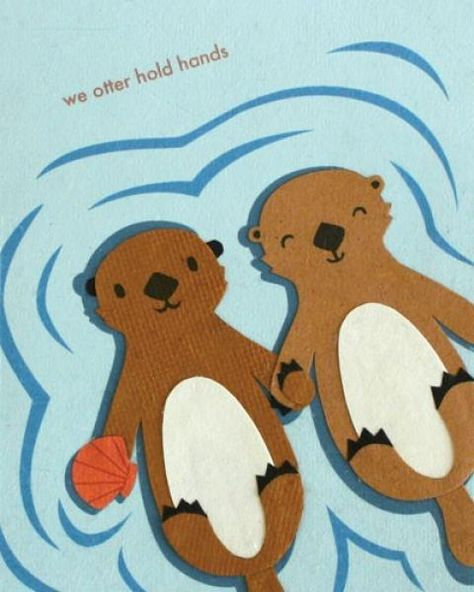 Otter Hold Hands Handmade Paper Card