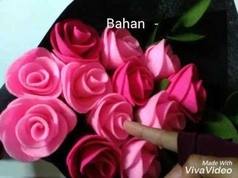 Diy How To Make Felt Flower Tutorial Easy Simple Cara Membuat Bunga Flanel Youtube Felt Flower Tutorial Felt Flower Bouquet Flower Tutorial