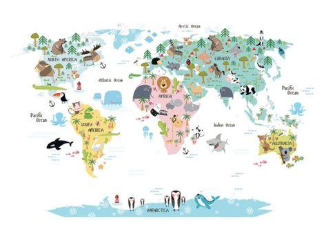 World Map Animals 50x70cm Desenio Desenio Posters Et Carte Du