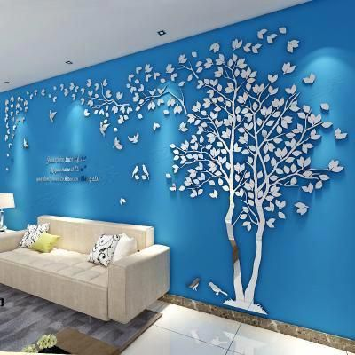 Modern 3d Crystal Romantic Couple Tree Wall Stickers Wall Painting Ideas Wall Painting Desi Wall Paint Designs Simple Wall Paintings Wall Stickers Living Room